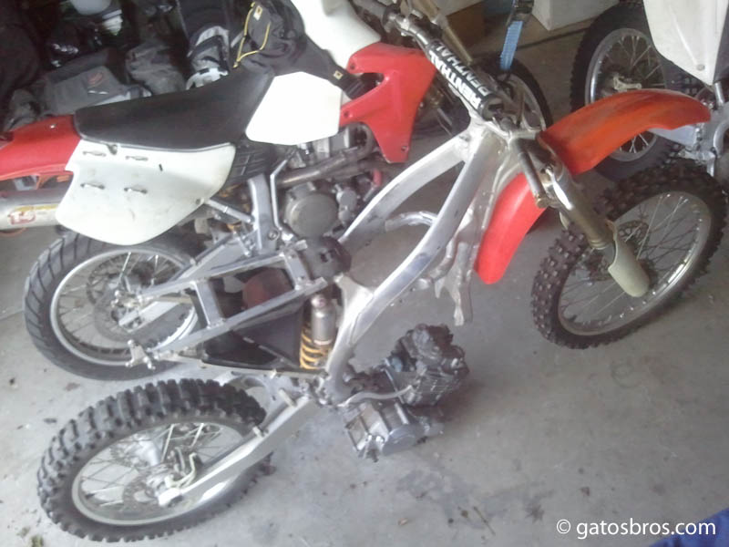 building a custom trailbike: Honda CRF chassis + XR250R engine ...